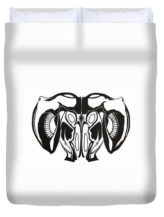 Horns Duvet Cover featuring the drawing Ram Head by Daniel P Cronin