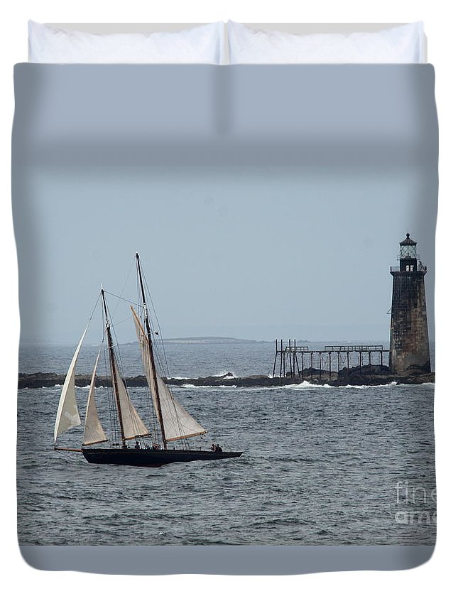Ram Island Ledge Light Duvet Cover featuring the photograph Ram Island Ledge Light And Schooner by Christiane Schulze Art And Photography