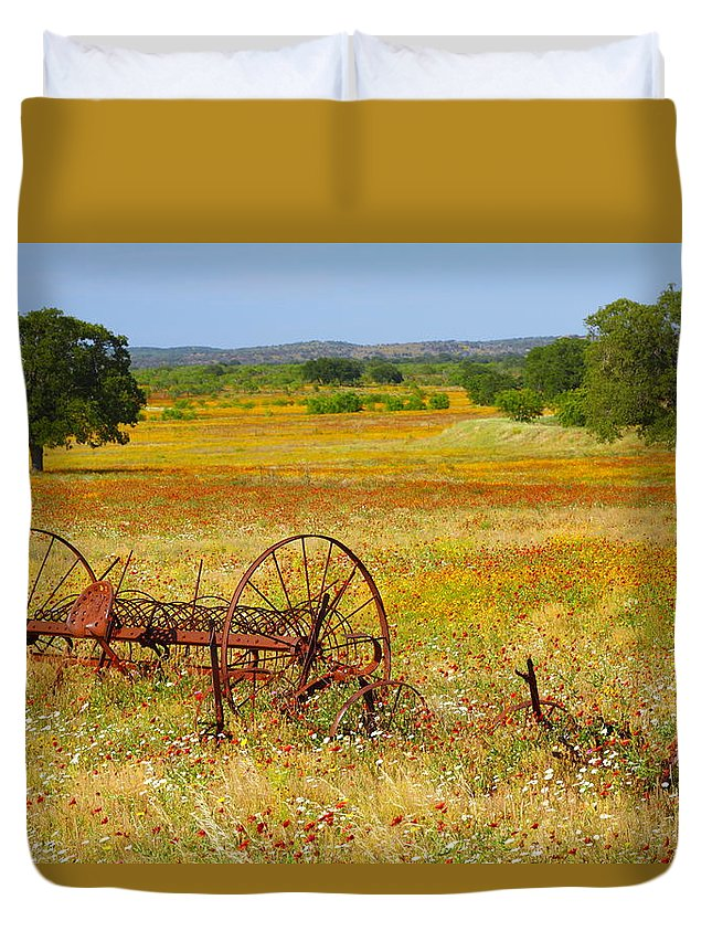 Texas Duvet Cover featuring the photograph Ranch And Wildflowers And Old Implement 2am-110547 by Andrew McInnes