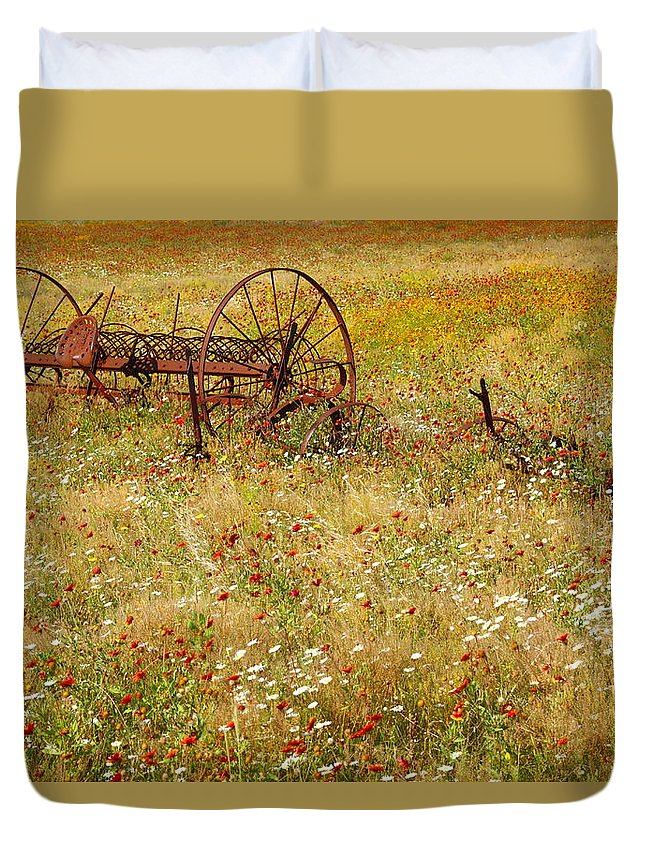 Texas Duvet Cover featuring the photograph Ranch And Wildflowers And Old Implement 2am-110546 by Andrew McInnes
