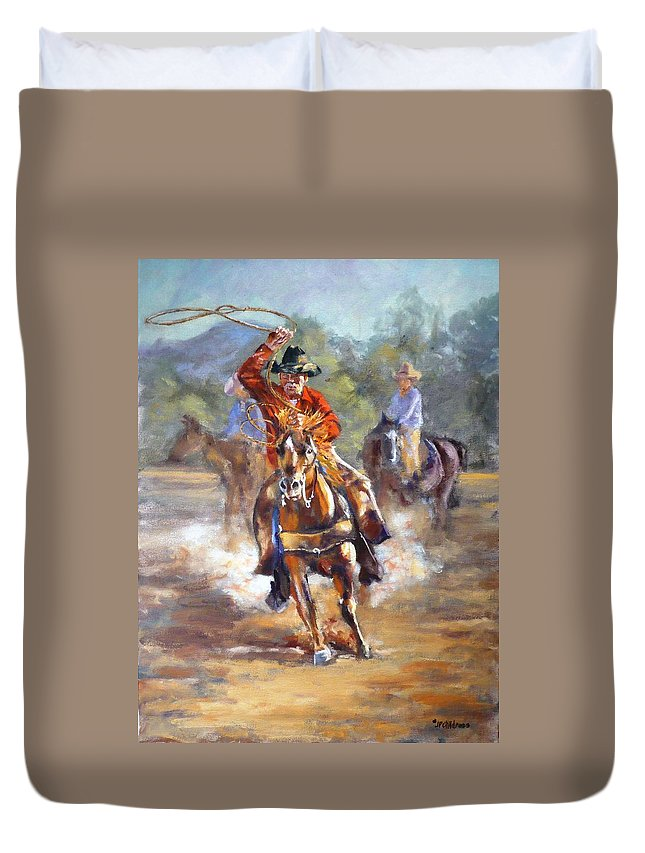 Ranch Duvet Cover featuring the painting Ranch Rodeo Time by J P Childress