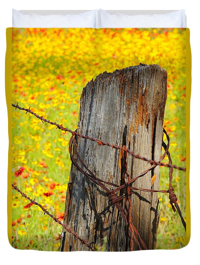 Texas Duvet Cover featuring the photograph Ranch Wildflowers And Fence 2am-110532 by Andrew McInnes