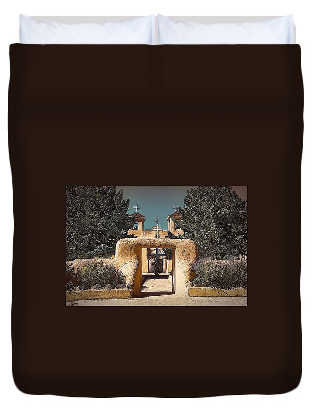 Santa Duvet Cover featuring the photograph Ranchos Gate In Gum Bichromate by Charles Muhle