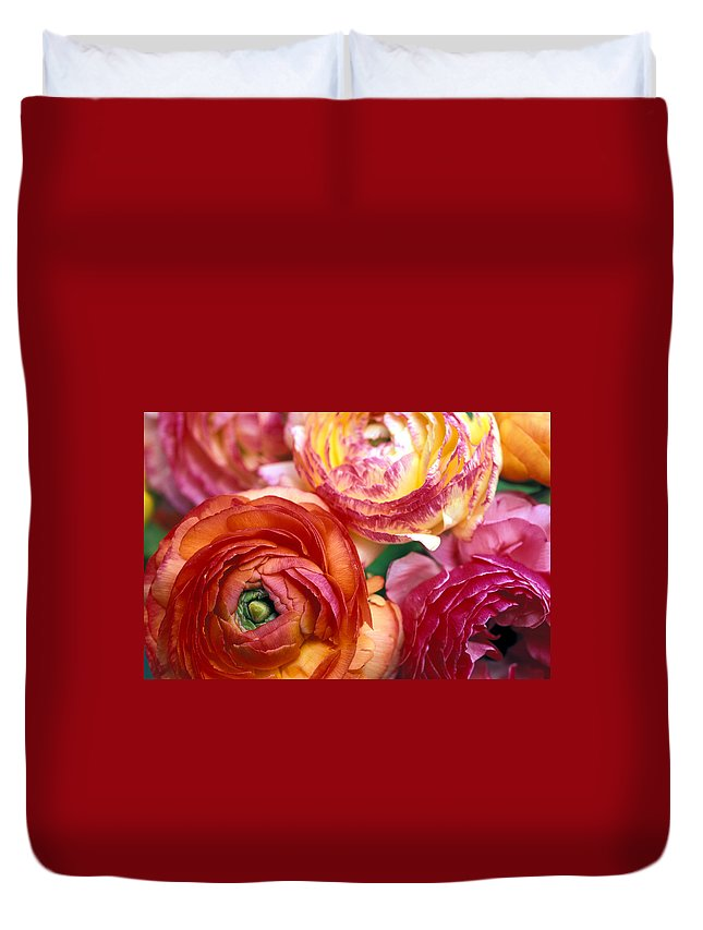 Florals Duvet Cover featuring the photograph Ranunculus Close-up by Kathy Yates