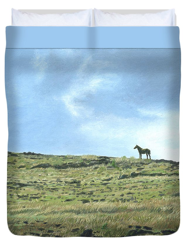 Easter Island Duvet Cover featuring the painting Rapa Nui Horse by Brent Charbonneau