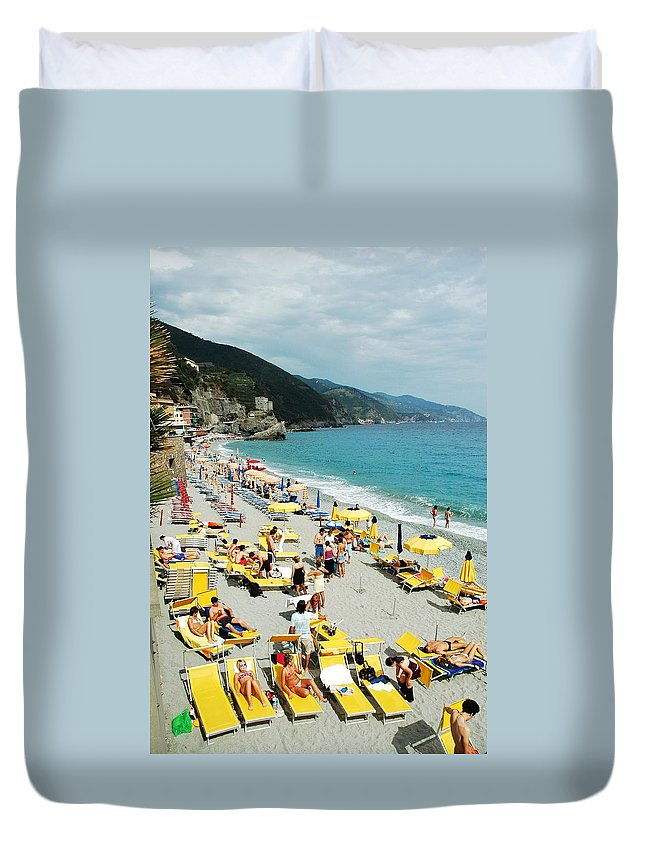 Italy Duvet Cover featuring the photograph Rapallo Beach by Allen Beatty