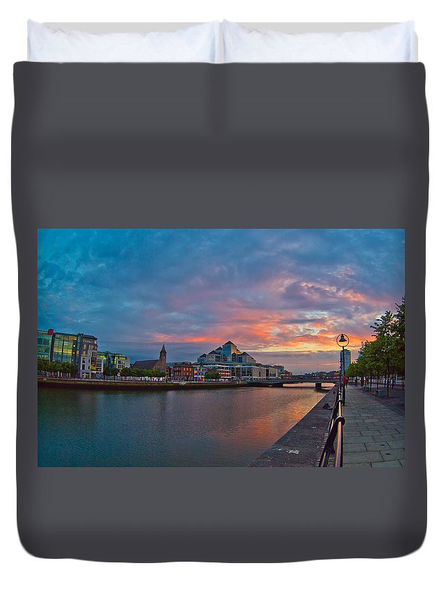 Sunset Duvet Cover featuring the photograph Rare Irish Sunset by Alex Art and Photo