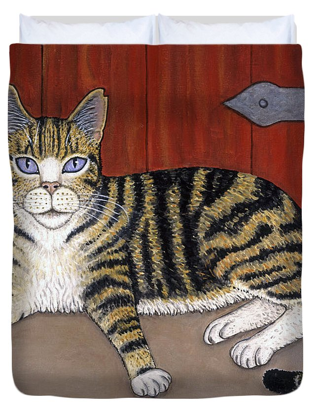 Folk Art Cat Duvet Cover featuring the painting Rascal The Cat by Linda Mears