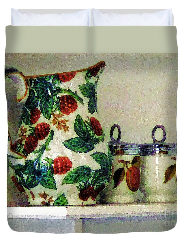 Pitcher Duvet Cover featuring the painting Raspberry Pitcher by RC DeWinter