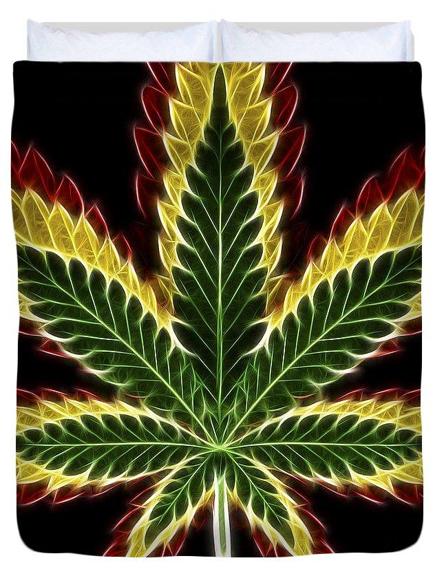 3scape Duvet Cover featuring the digital art Rasta Marijuana by Adam Romanowicz