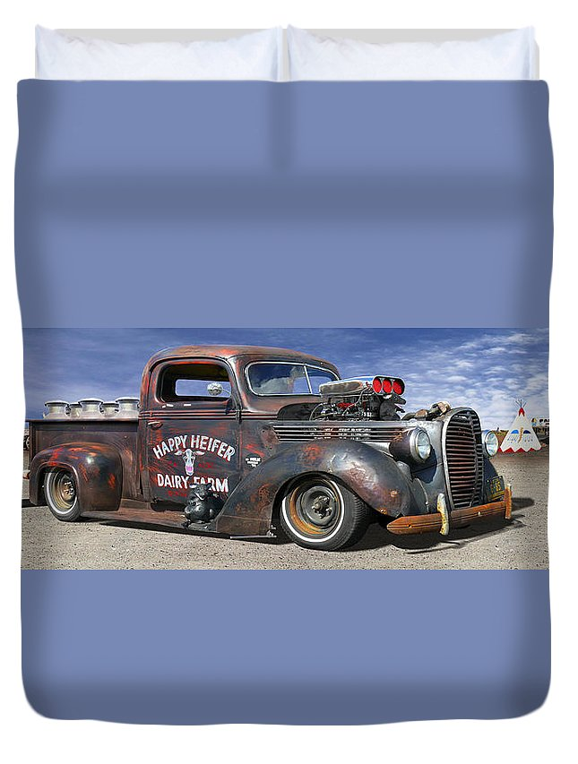 Transportation Duvet Cover featuring the photograph Rat Rod On Route 66 3 by Mike McGlothlen