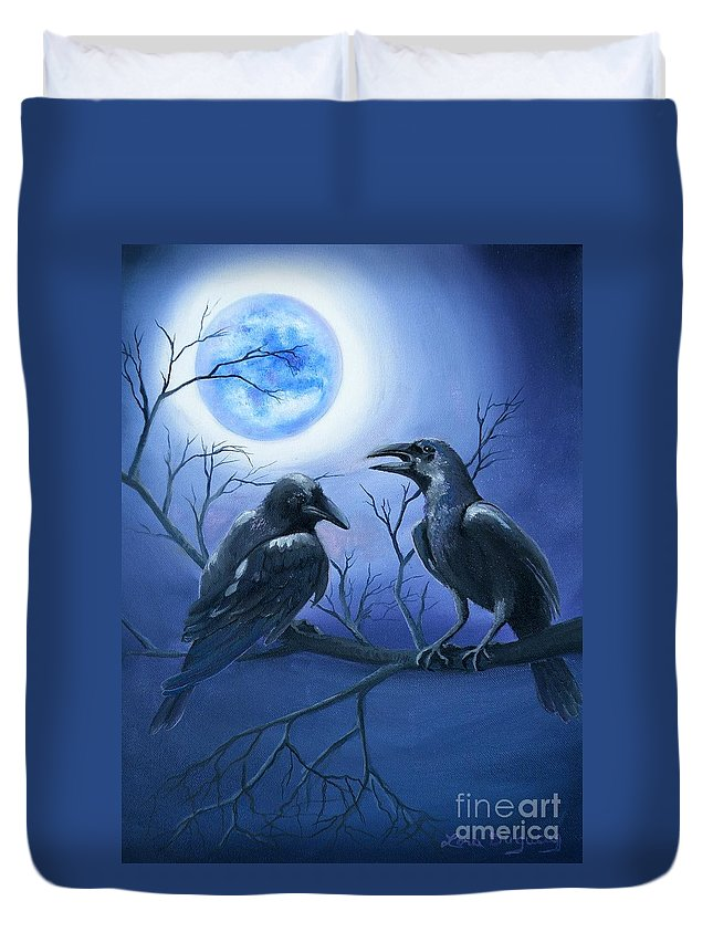 Ravens Duvet Cover featuring the painting Raven's Moon by Lora Duguay