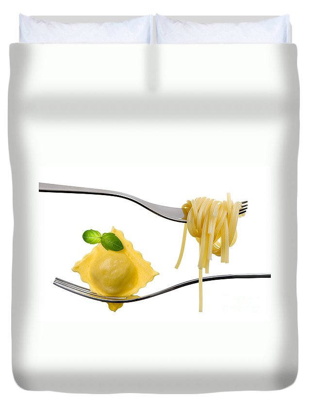 Pasta Duvet Cover featuring the photograph Ravioli Pasta Parcel And Spaghetti On Fork White Background by Lee Avison