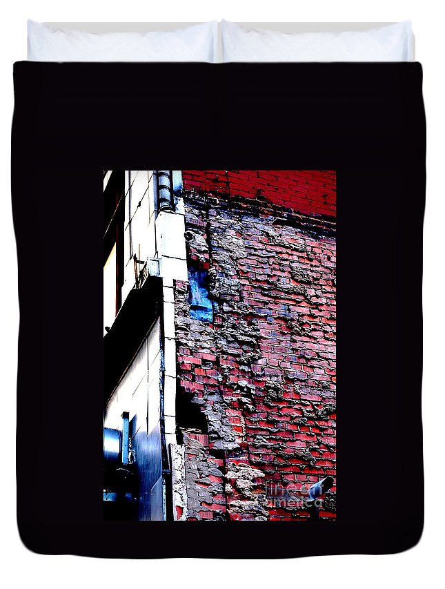 Urban Duvet Cover featuring the photograph Raw Brick Bones by Christiane Hellner-OBrien