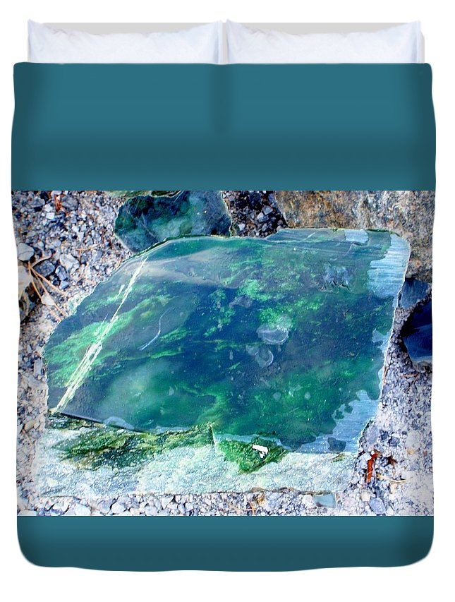 Jade Duvet Cover featuring the photograph Raw Jade Rock by Mary Deal