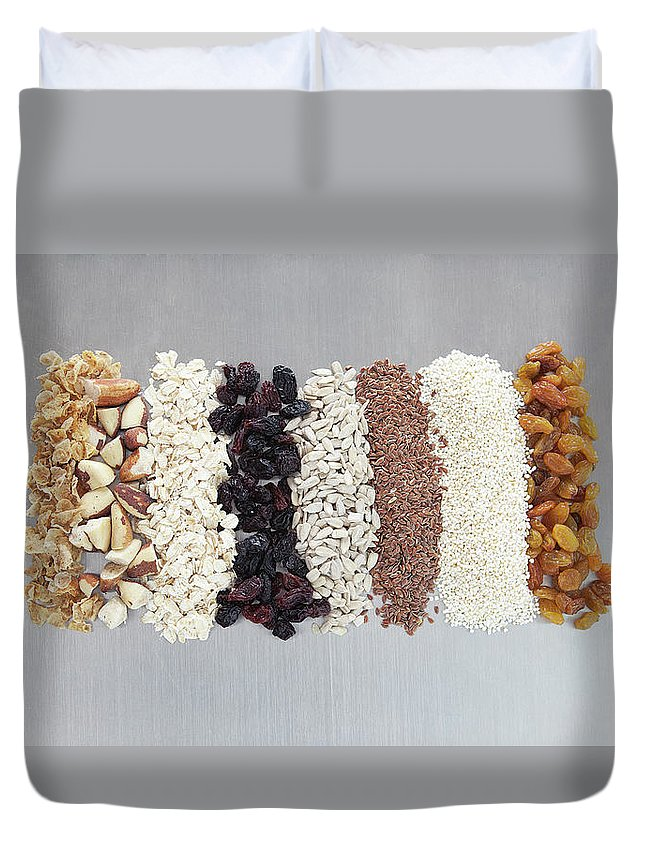 Nut Duvet Cover featuring the photograph Raw Nuts, Dried Fruit And Grains by Laurie Castelli