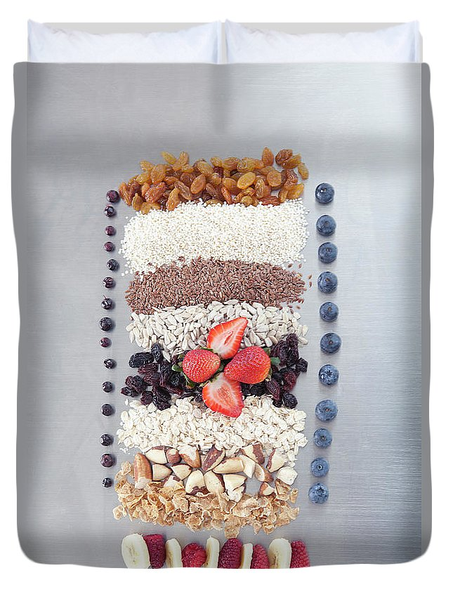 Nut Duvet Cover featuring the photograph Raw Nuts, Fruit And Grains by Laurie Castelli