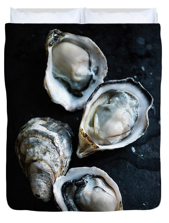 Oyster Duvet Cover featuring the photograph Raw Oysters by Jack Andersen