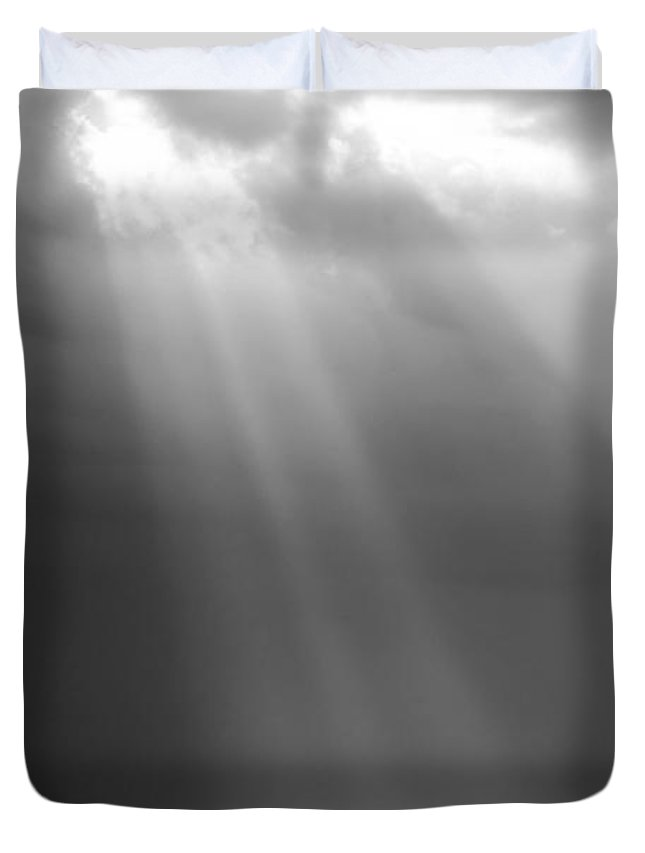 Abstract Duvet Cover featuring the photograph Ray Of Light Black And White by Tim Hester