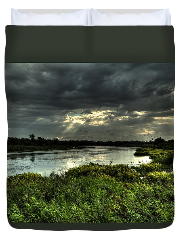 Landscape Duvet Cover featuring the photograph Lake Worth Sunlight by Jonathan Davison