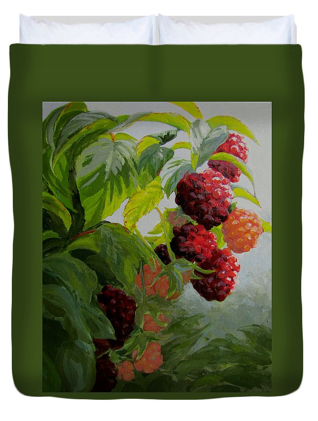 Berries Duvet Cover featuring the painting Razzleberries by Karen Ilari