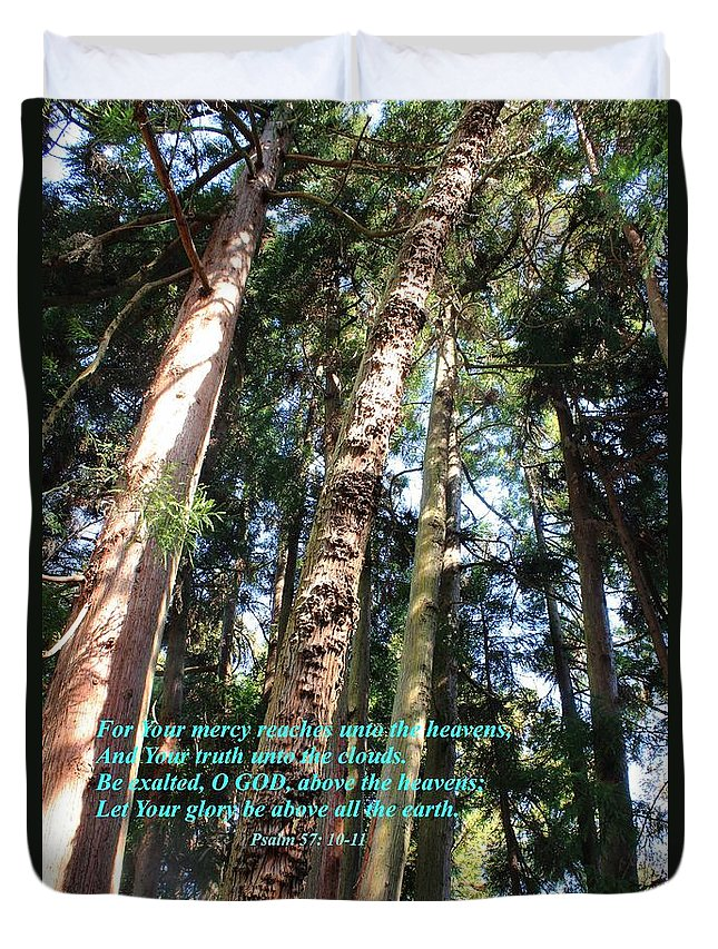 Trees Duvet Cover featuring the photograph Reach Unto The Heavens by Natalie Ortiz