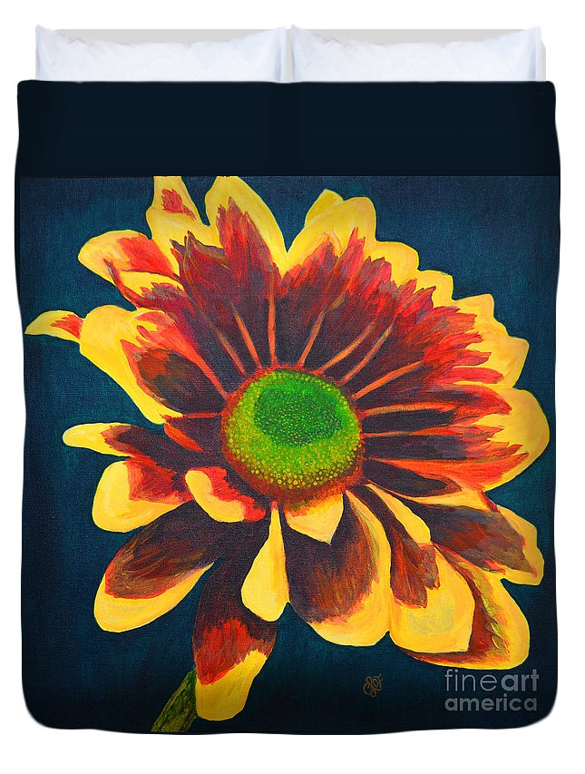Flower Duvet Cover featuring the painting Reaching Bloom by Christine Dekkers