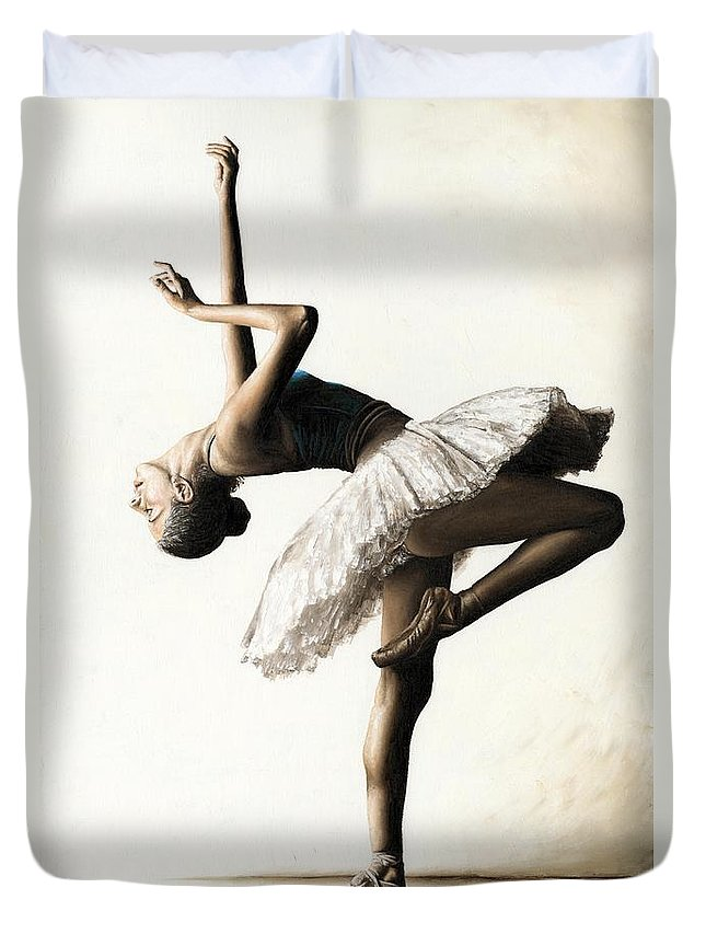 Dancer Duvet Cover featuring the painting Reaching For Perfect Grace by Richard Young