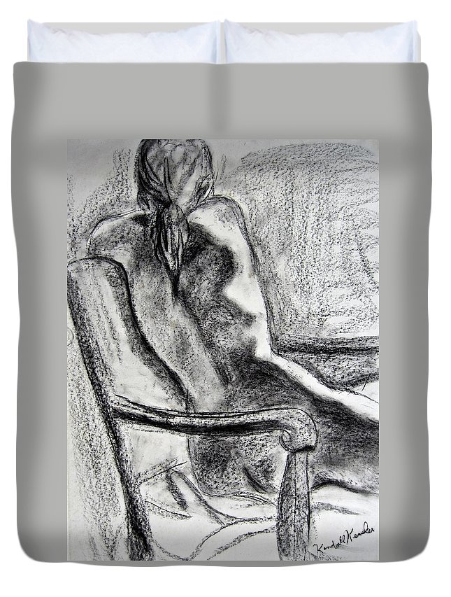 Kendall Kessler Duvet Cover featuring the drawing Reaching Out by Kendall Kessler
