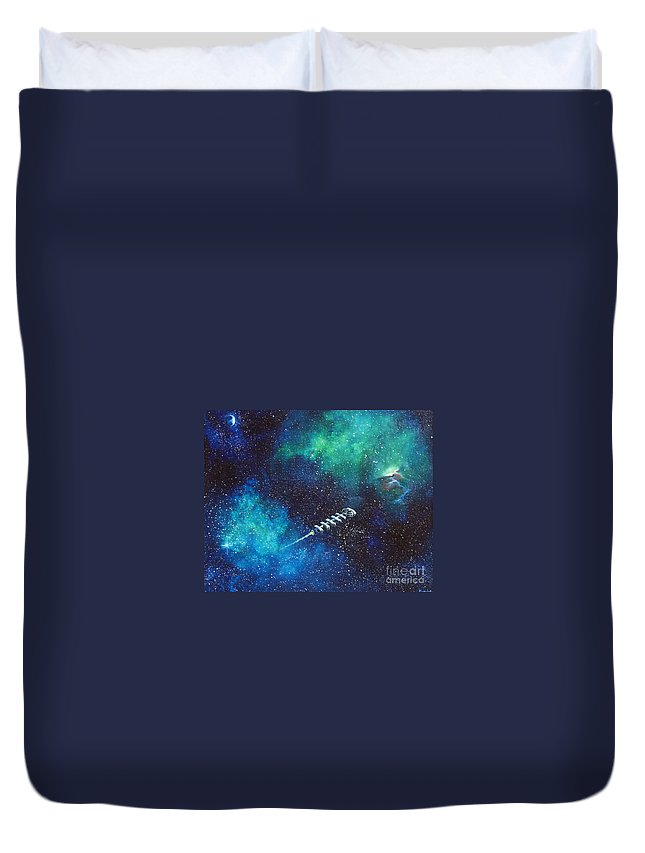 Spacescape Duvet Cover featuring the painting Reaching Out by Murphy Elliott