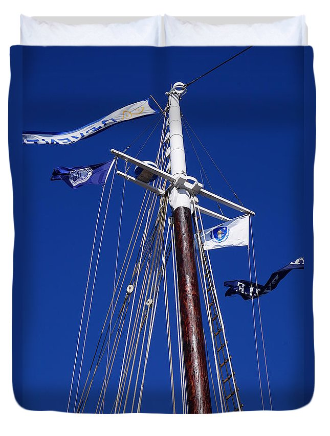 Adventure Duvet Cover featuring the photograph Reaching Out To The Deep Blue Sky by Zori Minkova