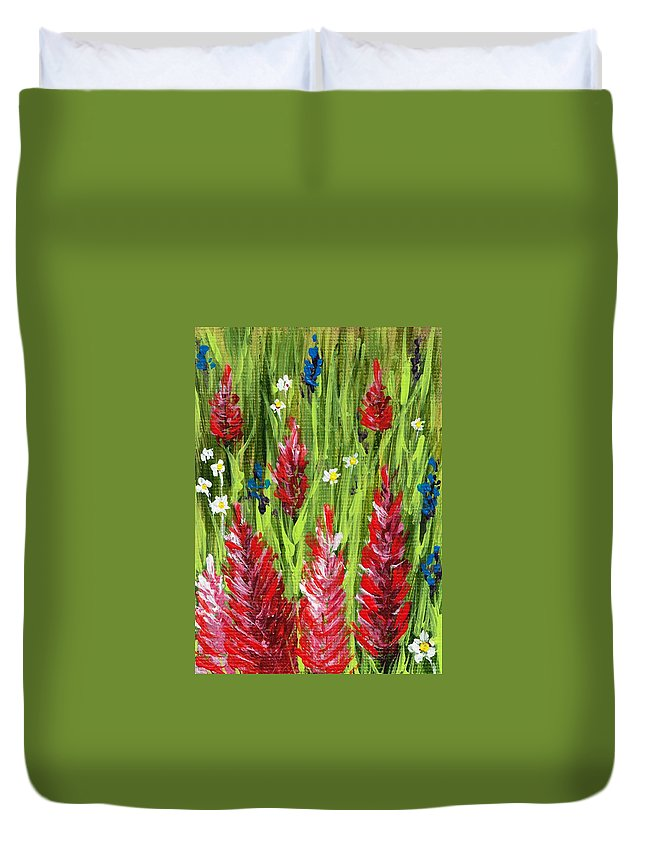 Grass Duvet Cover featuring the painting Reaching Up by Anastasiya Malakhova