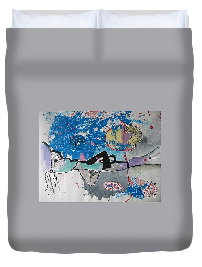 Abstract Paintings Duvet Cover featuring the painting Read My Mind2 by Seon-Jeong Kim