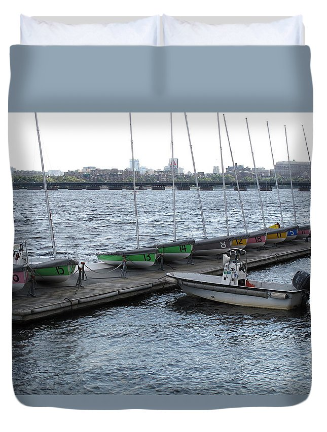 Charles River Duvet Cover featuring the photograph Ready And Waiting On The Charles by Barbara McDevitt