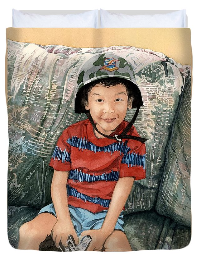 Child Duvet Cover featuring the painting Ready For Action by Barbara Jewell