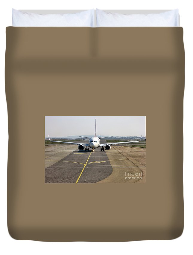Plane Duvet Cover featuring the photograph Ready For Take Off by Olivier Le Queinec