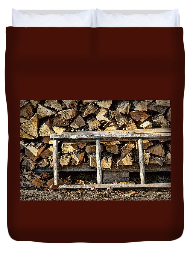 Firewood Duvet Cover featuring the photograph Ready For Winter #2 by Nikolyn McDonald
