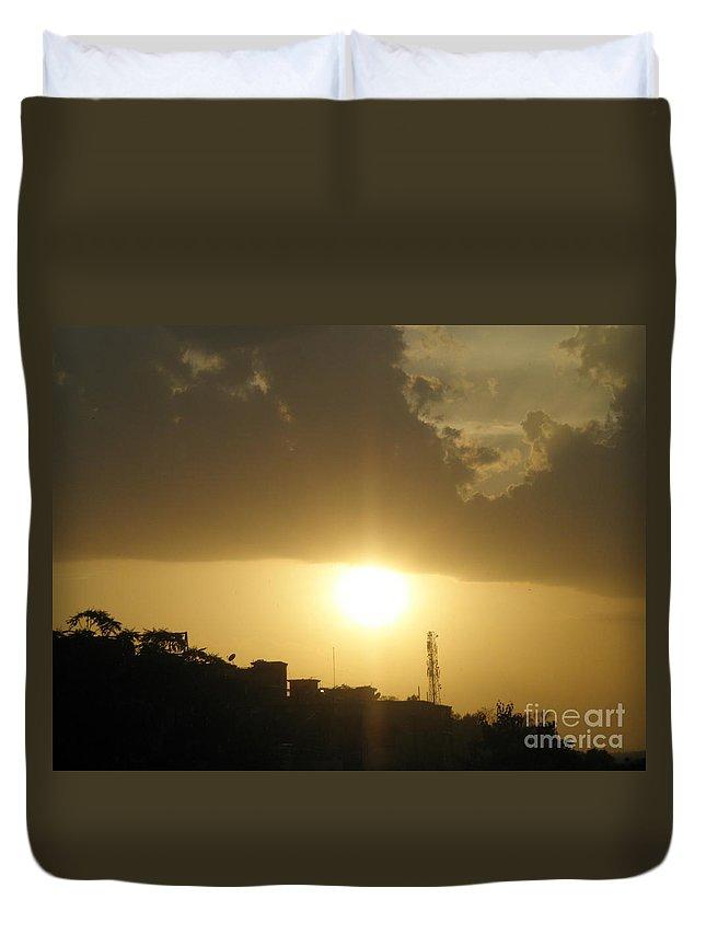 Sunset Duvet Cover featuring the photograph Really Beautiful Sunset by Artist Nandika Dutt