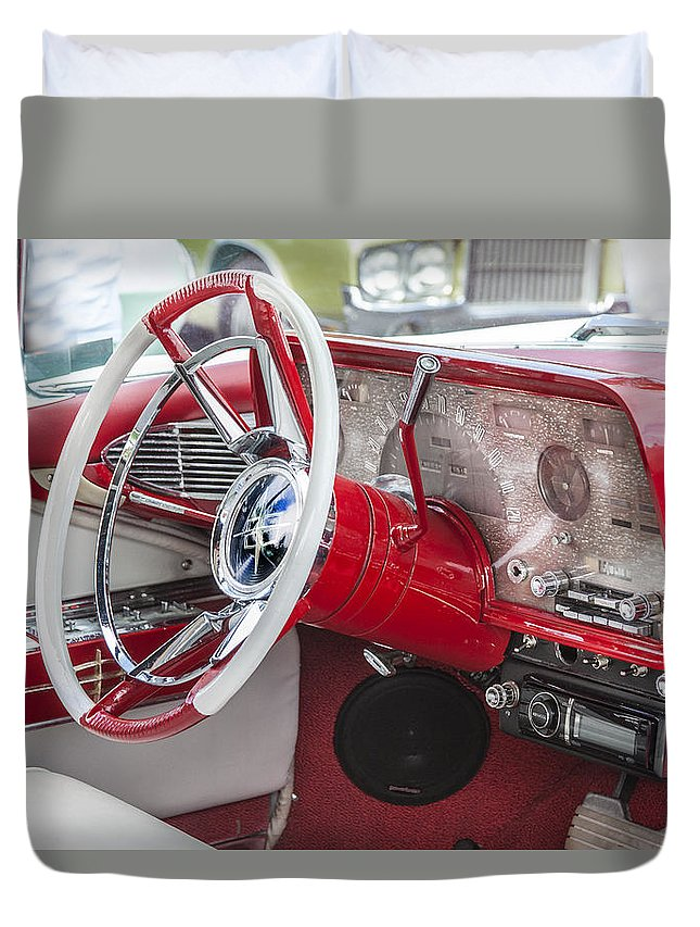 Lincoln Duvet Cover featuring the photograph Really Red 1959 Lincoln Interior by Rich Franco