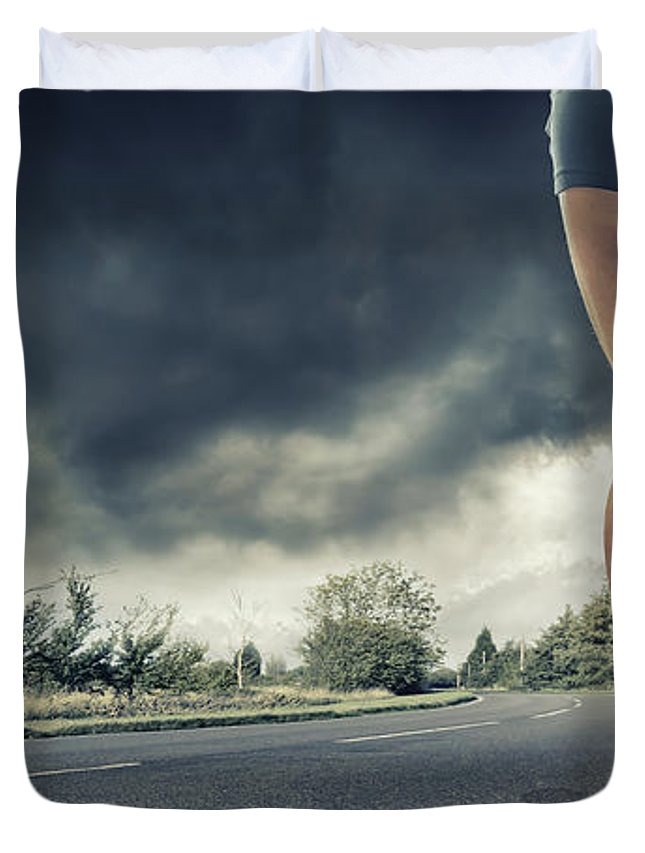 Recreational Pursuit Duvet Cover featuring the photograph Rear View Of Runners Legs by Peepo