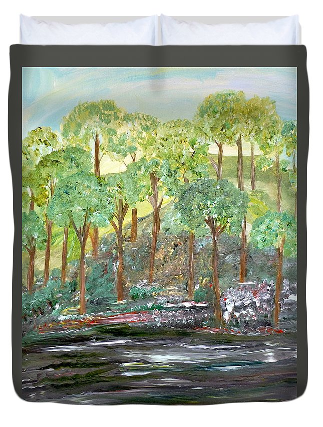 Whimsical Landscape Duvet Cover featuring the painting Reasons For Waiting by Sara Credito