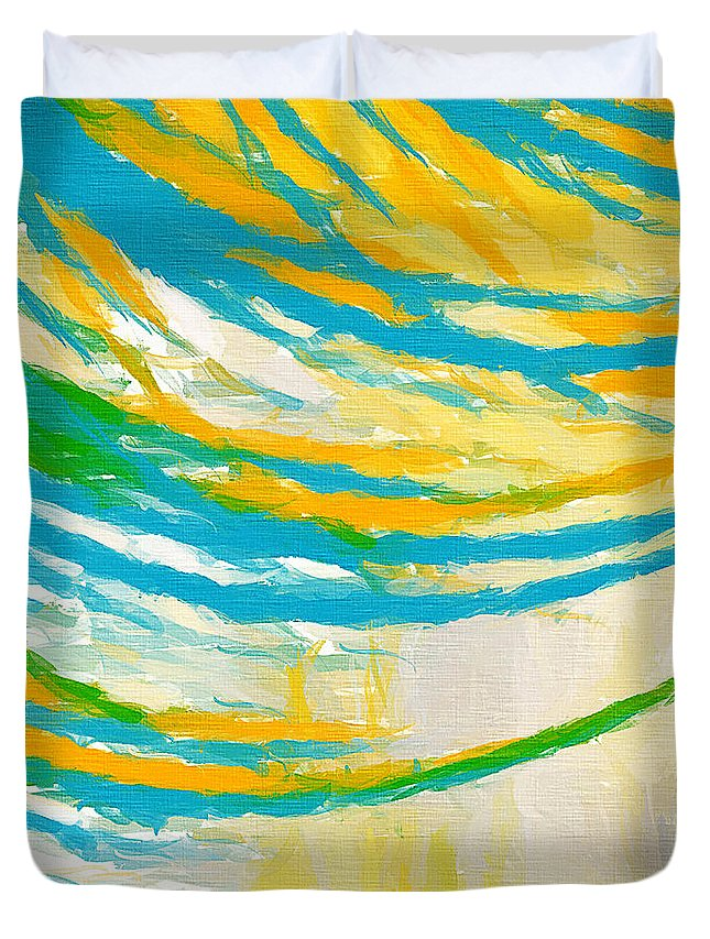 Yellow Duvet Cover featuring the painting Rebirth by Lourry Legarde