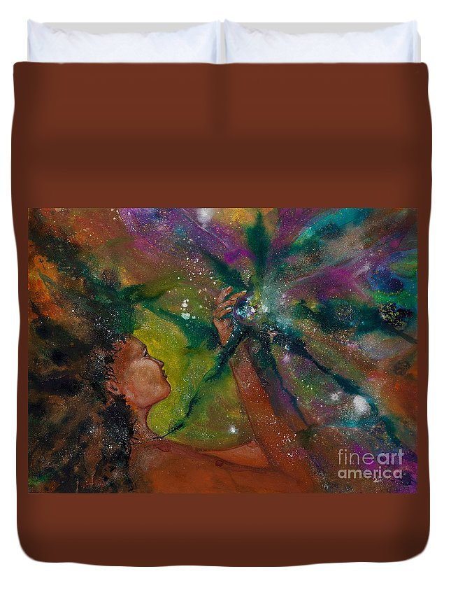 Female Duvet Cover featuring the painting Recapturing Her Soul by Ilisa Millermoon