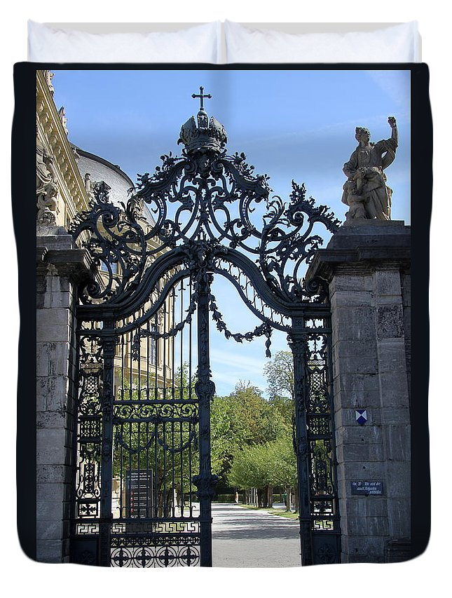 Gate Duvet Cover featuring the photograph Recidence Garden Gate - Wuerzburg by Christiane Schulze Art And Photography