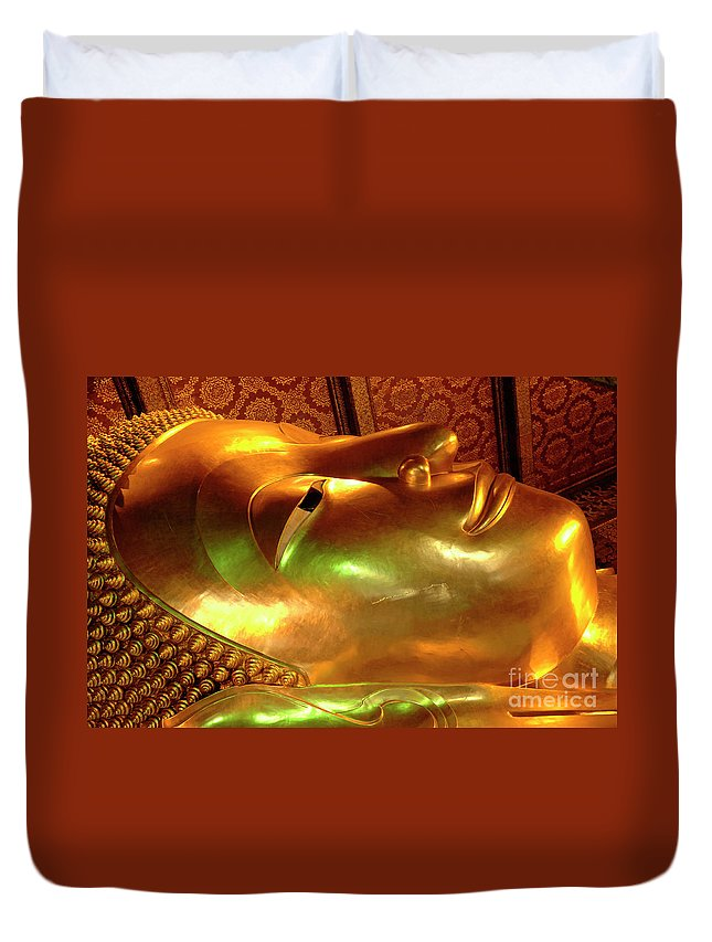 Buddha Duvet Cover featuring the photograph Reclining Buddha 1 by Bob Christopher