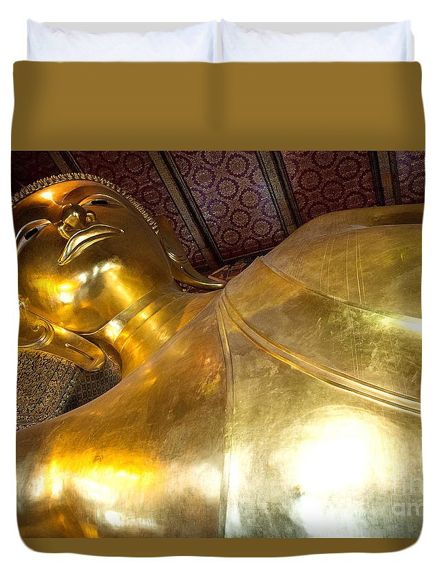 Buddha Duvet Cover featuring the photograph Reclining Buddha by Yew Kwang