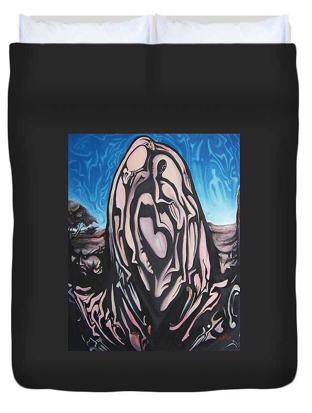 Tmad Duvet Cover featuring the painting Recluse by Michael TMAD Finney