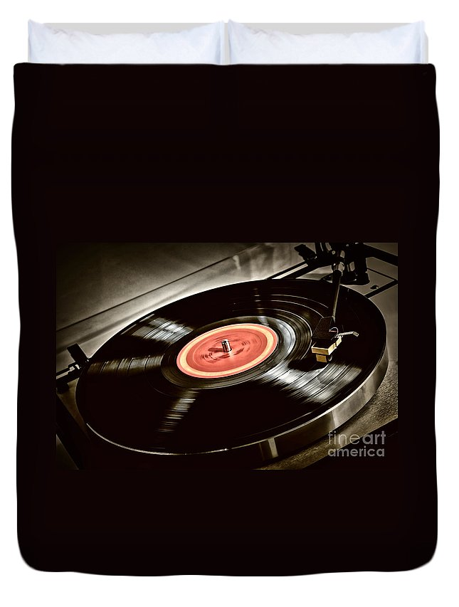 Vinyl Duvet Cover featuring the photograph Record On Turntable by Elena Elisseeva