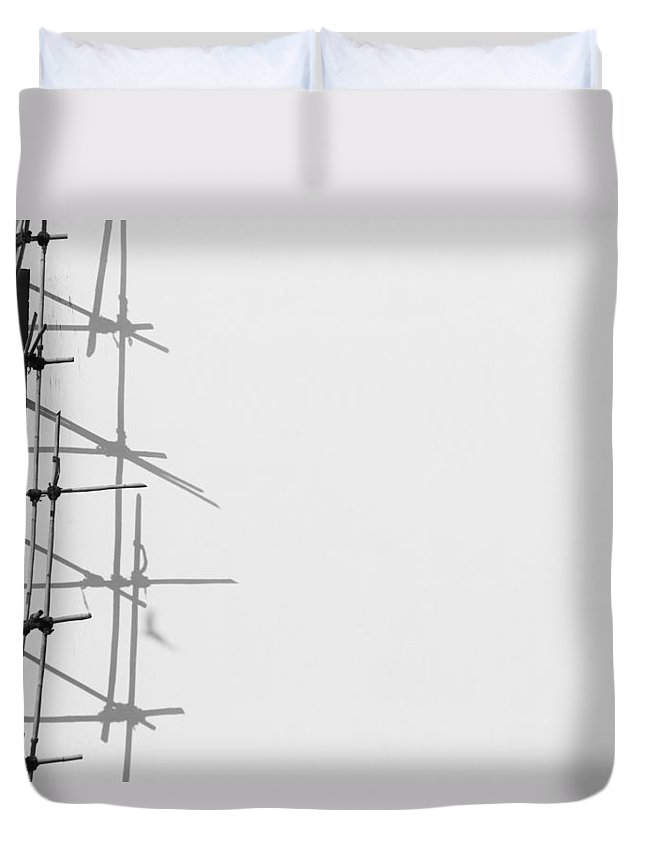 Less Elements Duvet Cover featuring the photograph Rectangles And Shadows by Prakash Ghai