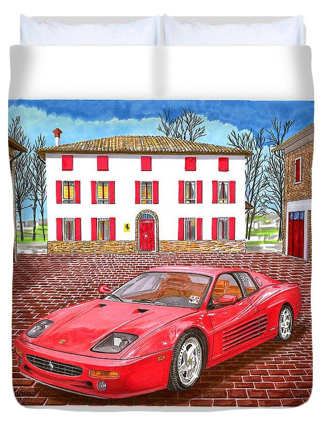1995 Ferrari 512m Sitting At Enzo Ferrari's Garage Architectural Renderings Duvet Cover featuring the painting Enzo Ferrari S Garage With 1995 Ferrari 512m by Jack Pumphrey